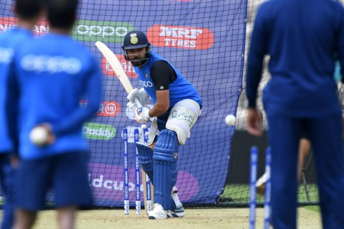 India's Rohit Sharma bats in the nets during a training session at the Rose Bowl in Southampton, southern England, on June 3, 2019 ahead of their 2019 Cricket World Cup match against South Africa. (AFP)