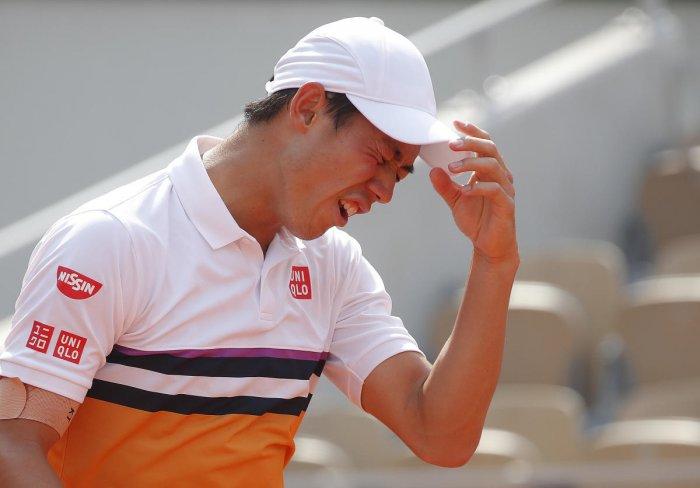 HARD TASK Japan's Kei Nishikori had a torrid time facing Spain's Rafael Nadal in the French Open quarterfinal on Tuesday. Reuters