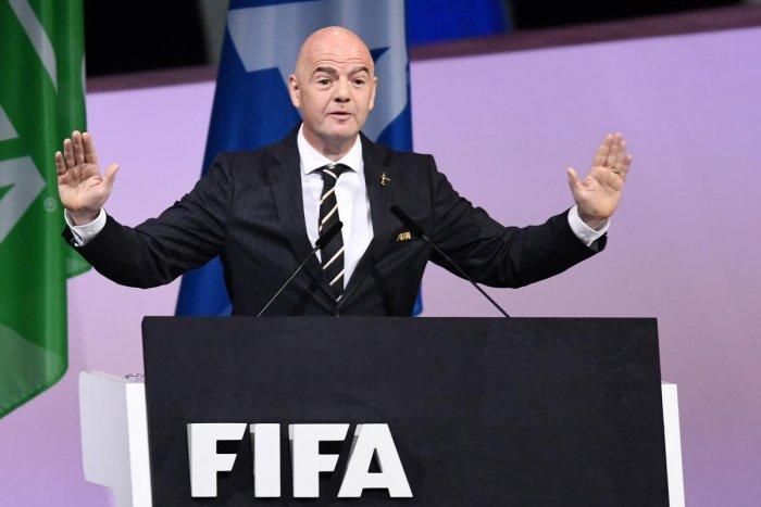 FIFA President Gianni Infantino addresses FIFA congress at Paris Expo on Wednesday. AFP
