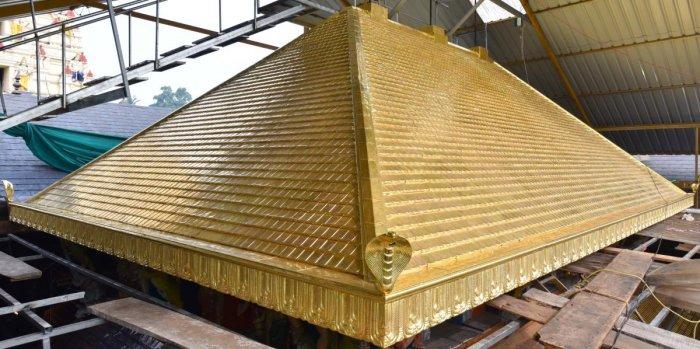 The 100-kg golden tower over the sanctum sanctorum of Sri Krishna temple at Udupi.