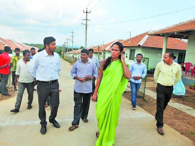 Deputy Commissioner Annies Kanmani Joy visits the rehabilitation site for Basavanahalli and Byadagotta evacuees in Kushalnagar on Thursday.