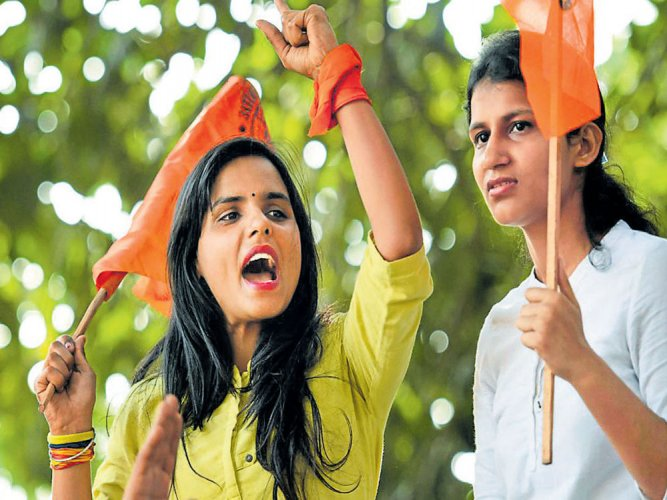 The ABVP leadership has set a target of enrolling 1 lakh new members in Bengal in 20 days from June 2. Currently, ABVP has about 40,000 members in the state. PTI file photo