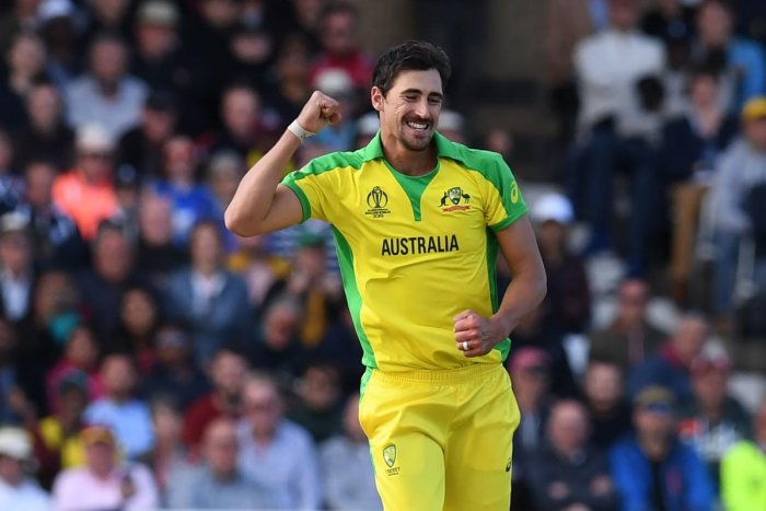 Australia's Mitchell Starc celebrates after taking his fifth wicket, that of West Indies' Sheldon Cottrell during the 2019 Cricket World Cup group stage match between Australia and West Indies at Trent Bridge in Nottingham, central England, on June 6, 2019. (AFP)
