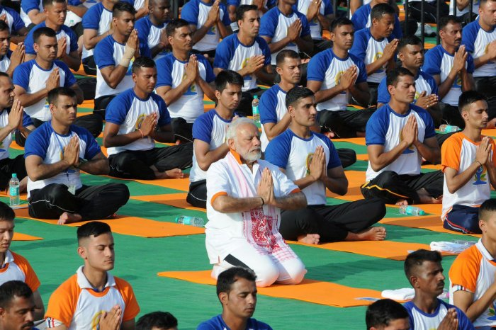 Prime Minister Narendra Modi performs yoga on International Yoga Day (REUTERS File Photo)