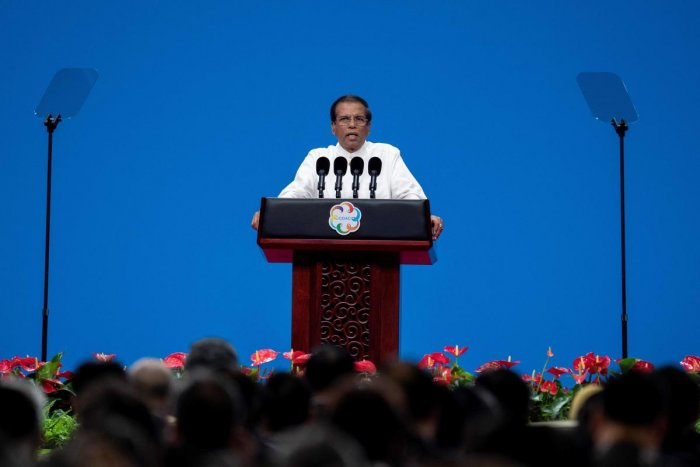 Maithripala Sirisena summoned an emergency meeting of his cabinet on Friday night to oppose the Parliamentary Select Committee (PSC) probing the April 21 attacks. (Photo by AFP)