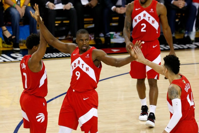 Serge Ibaka #9 of the Toronto Raptors celebrates the basket against the Golden State Warriors during Game Four of the 2019 NBA Finals at ORACLE Arena on June 07, 2019 in Oakland, California. (Photo by AFP)
