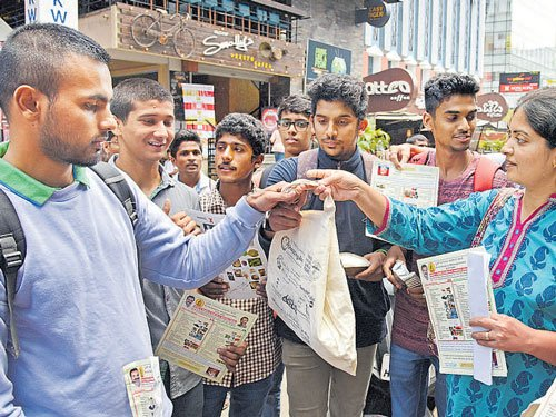 Students sensitise traders  against use of plastic