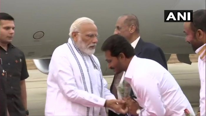 Andhra Pradesh Governor E S L Narasimhan, Chief Minister YS Jaganmohan Reddy, Union Minister of State for Home G Kishan Reddy and others received the prime minister at the Tirupati airport at Renigunta after he landed from Colombo. (Image courtesy ANI/Twitter)