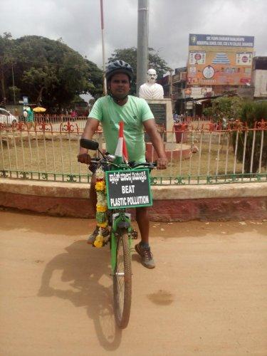 Girish on his bicycle.