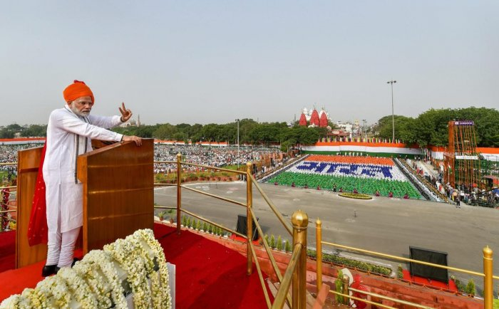 Prime Minister Narendra Modi addresses the nation from the ramparts of the historic Red Fort on the 72nd Independence Day, in New Delhi on Wednesday. PTI photo
