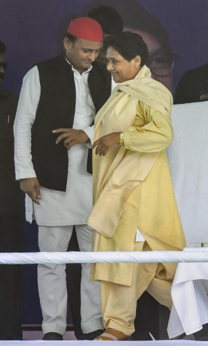Bahujan Samajwadi Party chief Mayawati with Samajwadi Party chief Akhilesh Yadav at an SP-BSP alliance election rally for Lok Sabha polls, in Varanasi. PTI