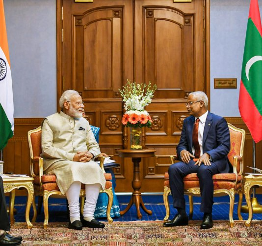 Male: Prime Minister Narendra Modi with President of Maldives Ibrahim Mohamed Solih at Male, in Maldives, Saturday, June 8, 2019. (PIB/PTI Photo) (PTI6_8_2019_000112B)