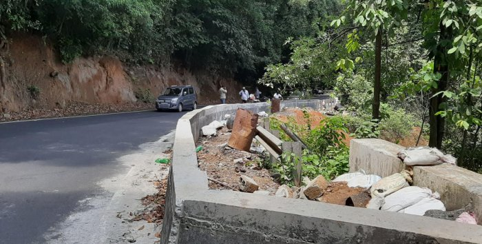 The protective wall built at Konanuru-Makutta Road, which was damaged during the landslide last year.