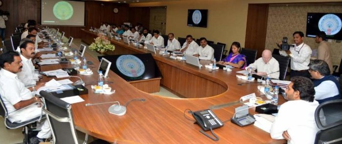 Andhra Pradesh Chief Minister Y S Jaganmohan Reddy at the Cabinet meeting in state secretariat at Amaravati on Monday.