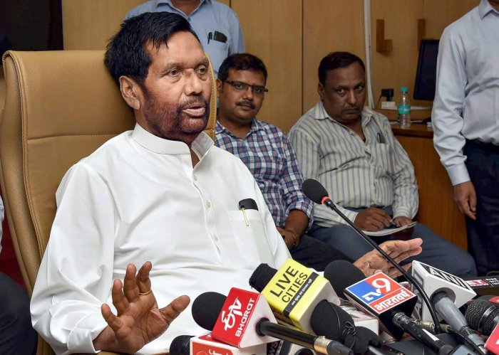 Union Minister for Consumer Affairs, Food and Public Distribution Ram Vilas Paswan addresses a press conference on the future roadmap for the Food Corporation of India in New Delh. PTI photo