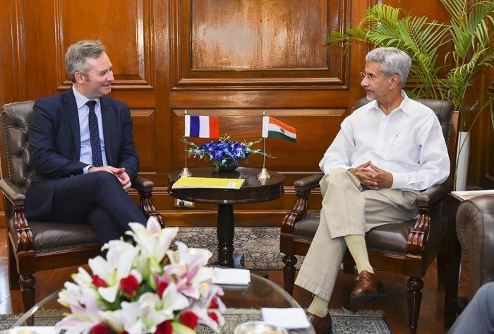 External Affairs Minister S Jaishankar with Jean-Baptiste Lemoyne, Minister of State for Europe and Foreign Affairs of France at a meeting in New Delhi, Monday, June 10, 2019. (PTI Photo)