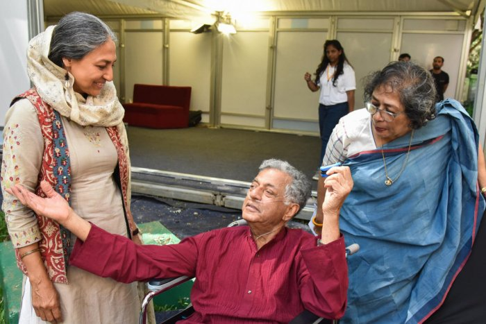 File photo: Padmavathi Rao (L), Girish Karnad, Arundhati Nag (R), at a recent edition of the Bangalore Literature Festival (BLF) at The Lalith Ashok in Bengaluru. Photo by S K Dinesh