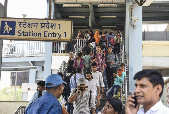 New Delhi: Passengers come out of the Chattarpur Metro Station  in New Delhi, Tuesday, May 21, 2019.