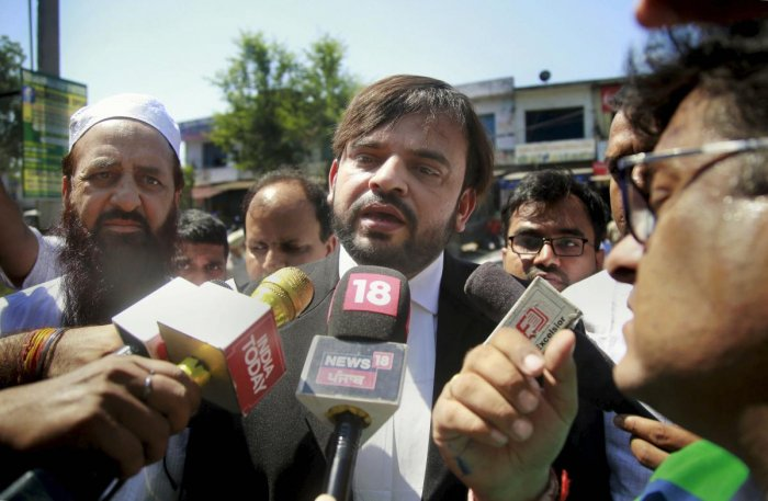 Advocate Mubeen Farooqi, lawyer of one of the eight accused involved in the rape and murder of an 8-year-old girl in Jammu and Kashmir's Kathua, speaks to the media at the Judicial Courts Complex, in Pathankot on June 10, 2019. PTI