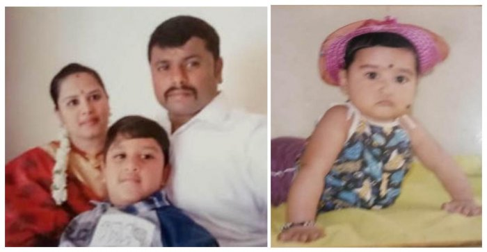 Pushpavathy (30) poisoned her two children aged 8 years and five month old baby girl before ending her life by hanging at her house in Manorayanapalya in Hebbal on Monday night. seen in photo with Nagaraj, her husband.