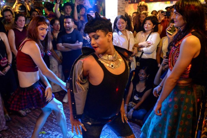 First time in Nepal's LGBT community showing drag queen night with colorful costumes and makeup. (AFP Photo)