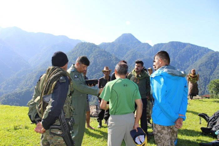 Mountaineers who were air dropped by IAF helicopters in West Siang district on Wednesday. Photo credit: IAF