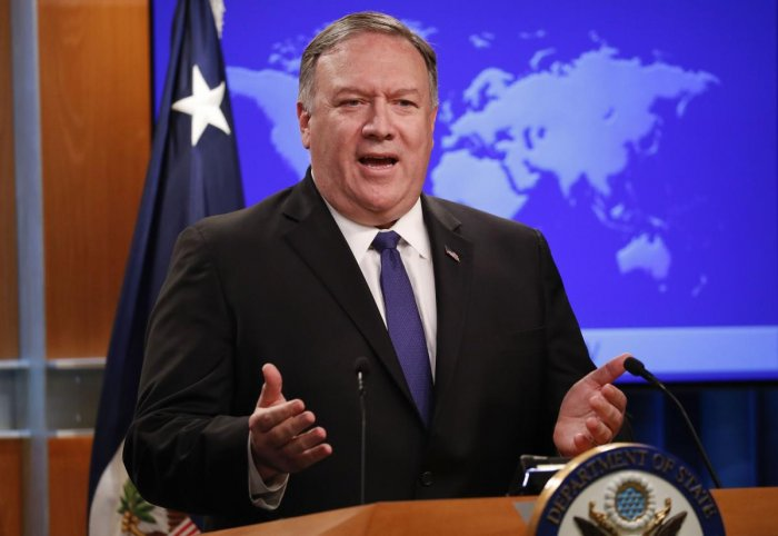 Secretary of State Mike Pompeo speaks to members of the media at the State Department, Monday, June 10, 2019. (Photo: PTI File Photo)