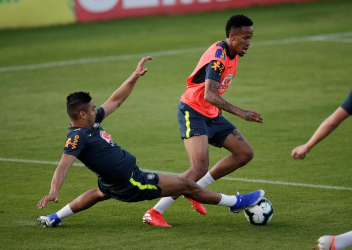 FULL THROTTLE: Brazil's Militao and Casemiro during a training session. Reuters