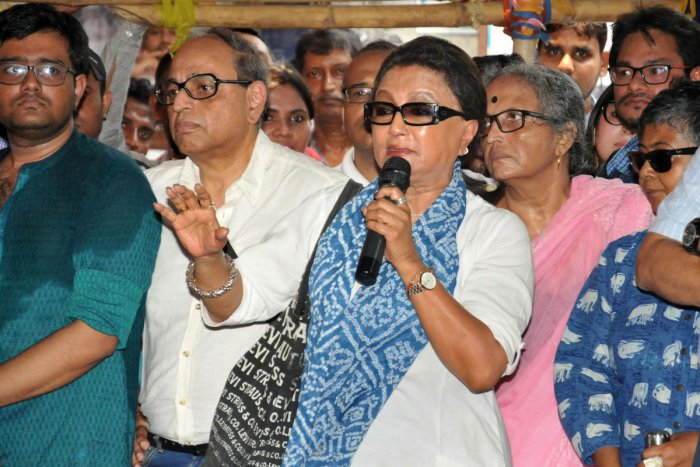 Veteran actor and filmmaker Aparna Sen addresses junior doctors during their strike in protest against an attack on an intern doctor, at Nil Ratan Sircar Medical College and Hospital in Kolkata. (PTI Photo)