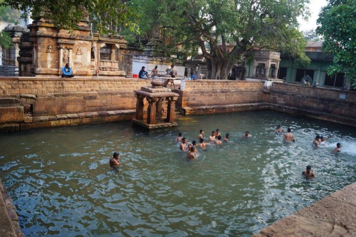 lifeline: The temple pond at Mahakoota in Badami taluk has not dried up even though the region is facing severe drought; (below) a natural spring.