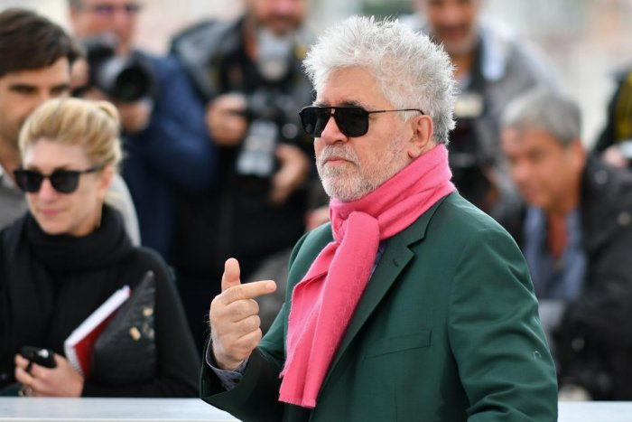 "Spanish film director Pedro Almodovar poses during a photocall for the film ""Dolor Y Gloria (Pain and Glory)"" at the 72nd edition of the Cannes Film Festival in Cannes. (AFP Photo)"