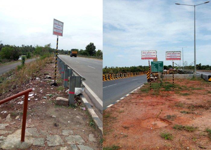 The sideways cleaned of litter greet those crossing Mabukala bridge on NH66 in Sasthan.