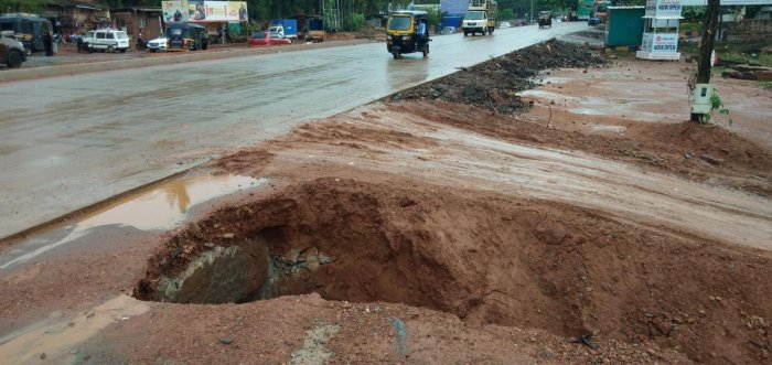 Soil has caved in along a drain near a petrol pump at Indrali in Udupi.