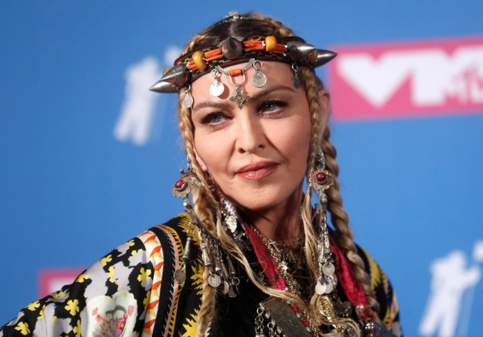Madonna poses backstage at the MTV Video Music Awards. (REUTERS File Photo)