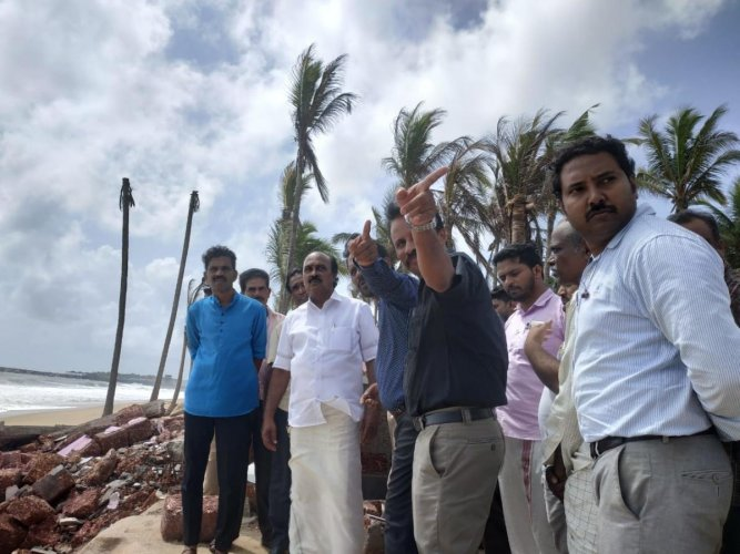 Kerala Revenue Minister E Chandrashekaran visited Moosodi, affected by coastal erosion, in Uppala, Kasargod district.