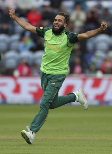 Cardiff: South Africa's Imran Tahir celebrates taking the wicket of of Afghanistan's Asghar Afghan during the ICC Cricket World Cup group stage match at The Cardiff Wales Stadium in Cardiff, Wales, Saturday June 15, 2019. AP/PTI(AP6_15_2019_000207A)