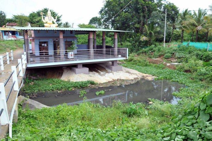 Waste water in the Yagachi Halla near Rameshwara Temple, Chikkamagaluru.