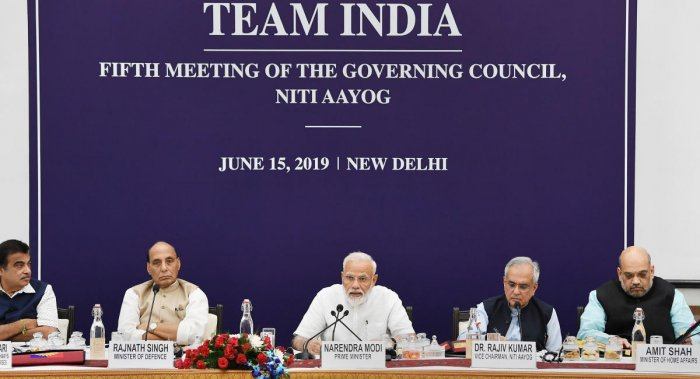 New Delhi: Prime Minister Narendra Modi chairs the fifth meeting of the Governing Council of NITI Aayog, in New Delhi, Saturday, June 15, 2019. Also seen are Union Ministers Nitin Gadkari, Rajnath Singh, Amit Shah and NITI Aayog Vice-Chairperson Rajiv Kumar. PIB/PTI