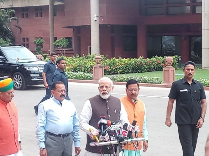Prime Minister Narendra Modi addresses media in Parliament on Monday.