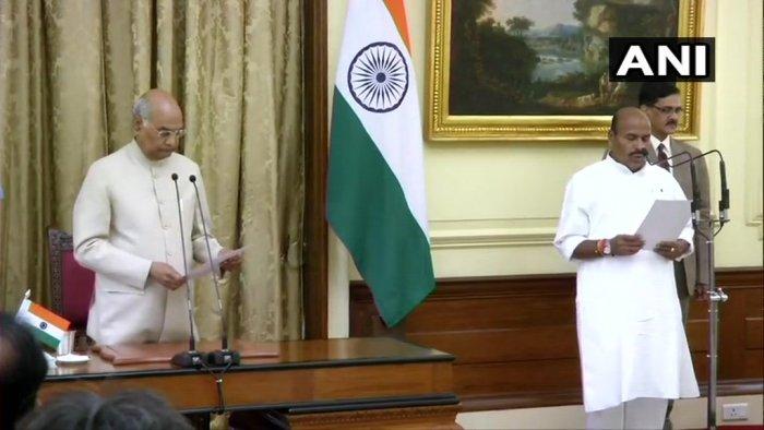 BJP leader Virendra Kumar takes oath as Lok Sabha pro-tem speaker. (ANI/Twitter)