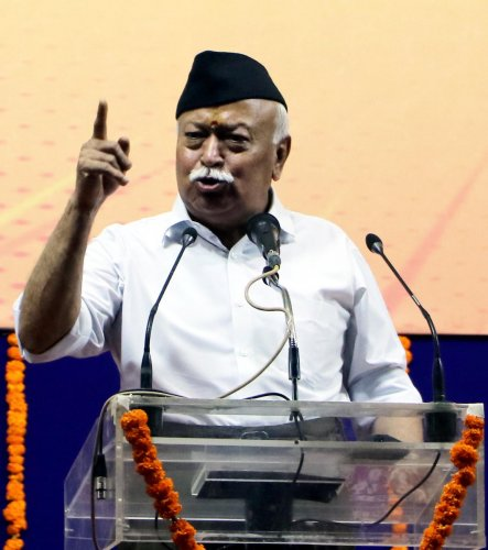 RSS chief Mohan Bhagwat speaks during the closing ceremony of 'Tritiya Varsha Sangh Shiksha Varg', an (RSS) event to mark the conclusion of a three-year training camp for Swayamsevaks, in Nagpur, Sunday, June 16, 2019. (PTI Photo)