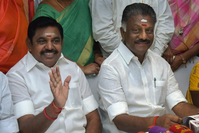 Tamil Nadu Chief Minister Edappadi K Palaniswami and his deputy O Panneerselvam release a list of constituencies allotted to the allies in presence of coalition leaders, in Chennai, Sunday, March 17, 2019. (PTI Photo)
