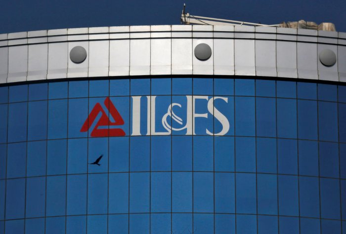 The logo of IL&FS (Infrastructure Leasing and Financial Services Ltd.) installed on the facade of a building at its headquarters in Mumbai. REUTERS