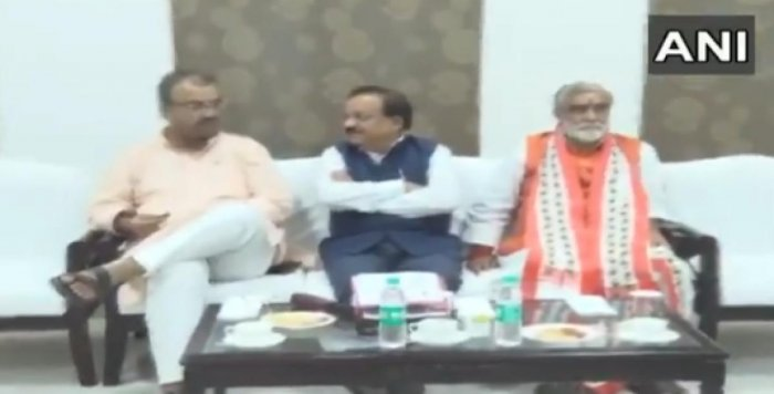 Press meet on Sunday, June 16, 2019, with Bihar Health minister Mangal Pandey (L), Minister of Health and Family Welfare Harsh Vardhan(C) and Minister Of State for Health and Family Welfare Ashwini Kumar Choubey (R). (Photo by ANI Twitter)