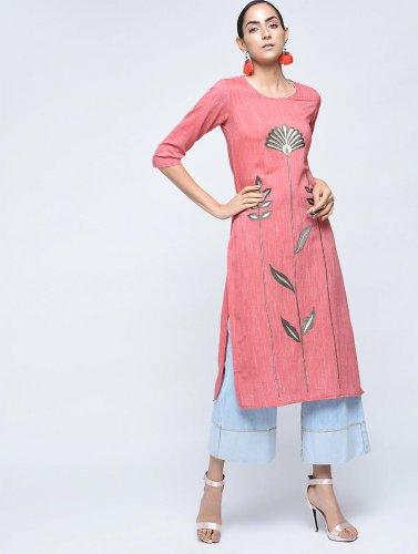 Pink embroidered khadi kurta
