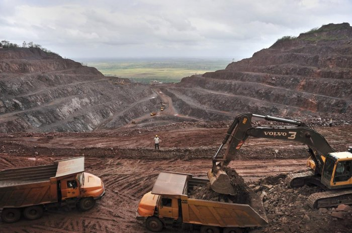 A view of iron ore mine in Karnataka