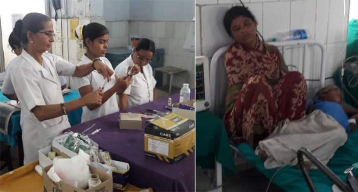 With the arrival of additional doctors from Patna and Darbhanga in SKMCH, nurses remain busy round-the-clock taking care of the children (L) and With no rain in sight, the hospital has installed air-conditioners and air-coolers in the wards where kids, suspected to be afflicted with AES, have been admitted (R). DH photos by Abhay Kumar