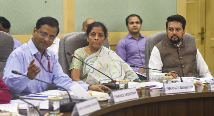 Union Finance Minister Nirmala Sitharaman, MoS in the Ministry of Finance Anurag Thakur and others attend a pre-budget meeting. (PTI Photo)