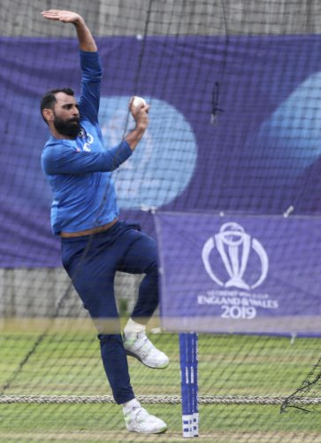 India's Mohammed Shami bowls at the nets during a training session in Southampton on Wednesday. AP/PTI