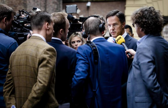 Dutch Prime Minister Mark Rutte speaks to the media following a press conference of the international Joint Investigation Team (JIT) on the ongoing investigation of the 2014 Malaysia Airlines MH17 crash. (AFP Photo)